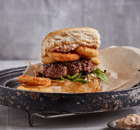 Beef Burger with Buttermilk Onion Rings & Bacon Aioli